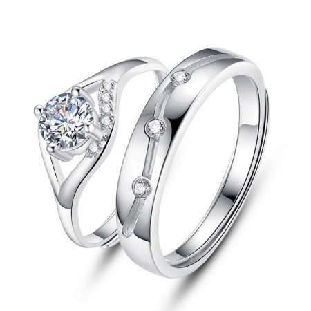 Creative 925 Silver Opening Couple Rings