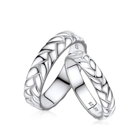 Simple 925 Silver Couple Rings