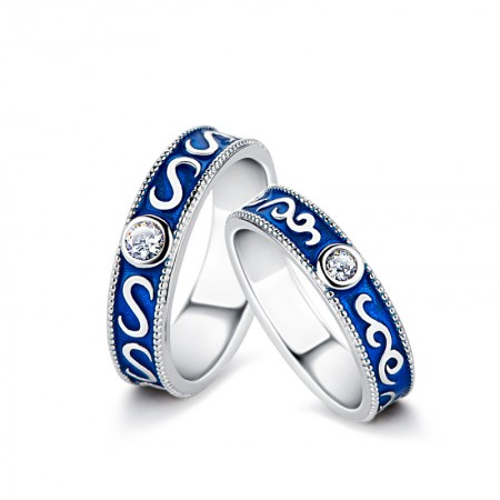 Retro Blue 925 Silver Couple Rings