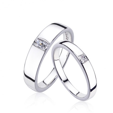 Europe Simple 925 Silver Plated Platinum Couple Rings