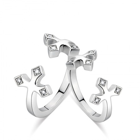 925 Silver Cross Platinum Couple Rings