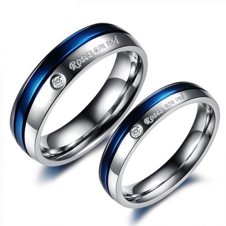 Blue Diamond Titanium Steel Couple Rings