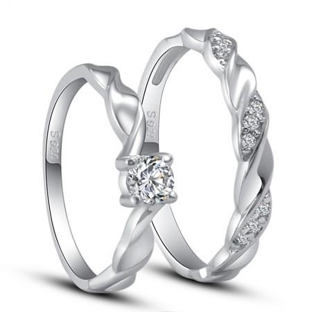 Romantic 925 Silver Couple Rings