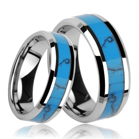 Tungsten Inlaid Turquoise Couple Rings