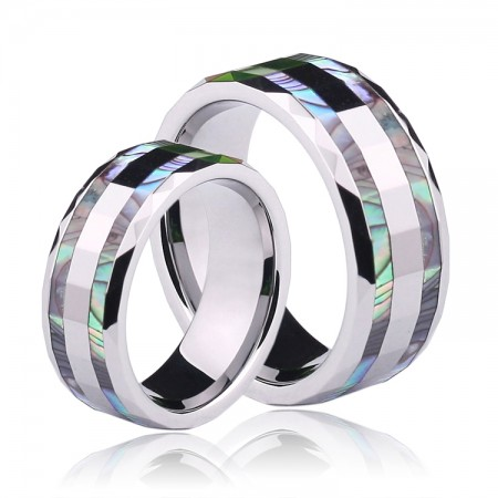 Tungsten Inlay Shell Couple Rings