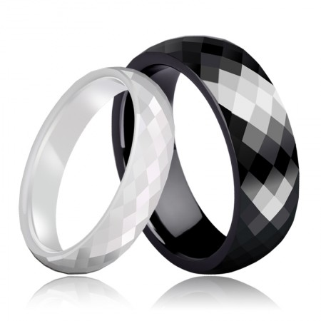Black And White Space Ceramics Couple Rings
