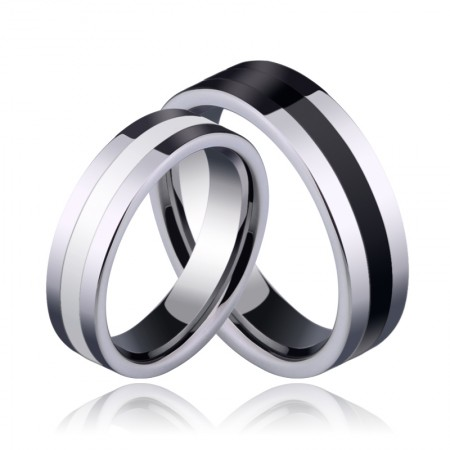 Black And White Tungsten Couple Rings