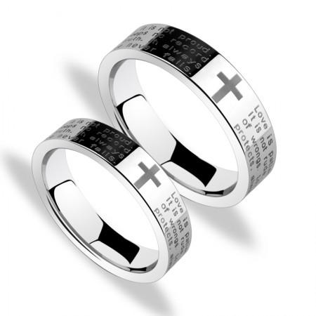 Korean Fashion Cross Tungsten Couple Rings