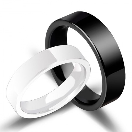 Simple Black And White Ceramic Couple Rings