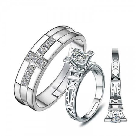 New Eiffel Tower 925 Sterling Silver Adjustable Couple Rings