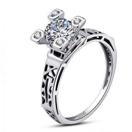925 Silver Set With Diamonds Eiffel Tower Ring