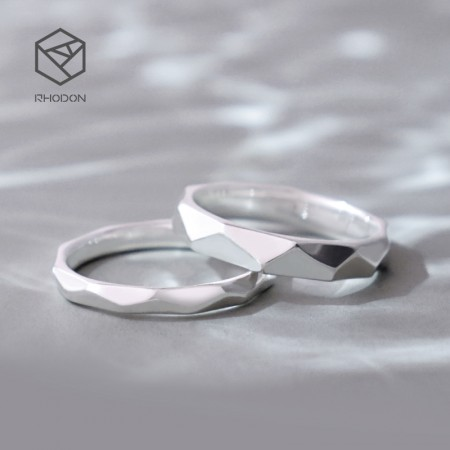 Stylish Simplicity 925 Sterling Silver Rhombic Cutting Couple Rings