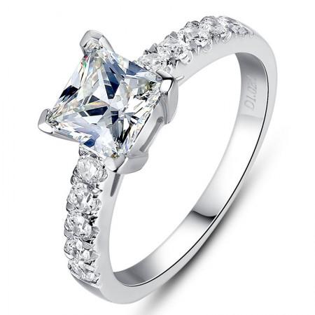 Europe Fashion Princess Square Four Claw Simulation Diamond Engagement Ring