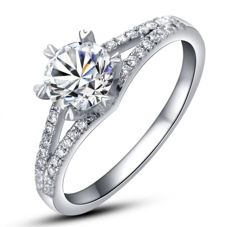 Luxury Delicate Sterling Silver Plated 18K White Gold Engagement Ring