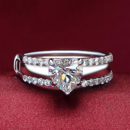 18K Gold Diamond Heart CZ Engagement Ring Set