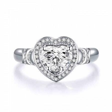 18K White Gold Heart-Shaped Diamond Luxury Group Inlay Engagement Ring