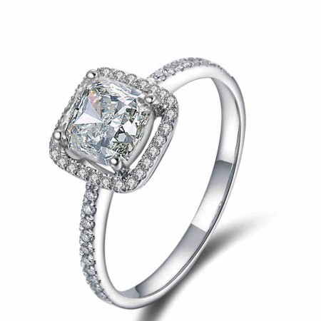 Classic Princess Cut Gold-Plated Sterling Silver Diamond Engagement Ring
