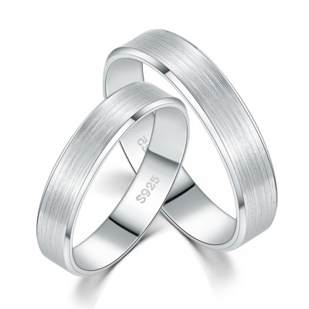 Simple Matte S925 Silver Lettering Couple Rings