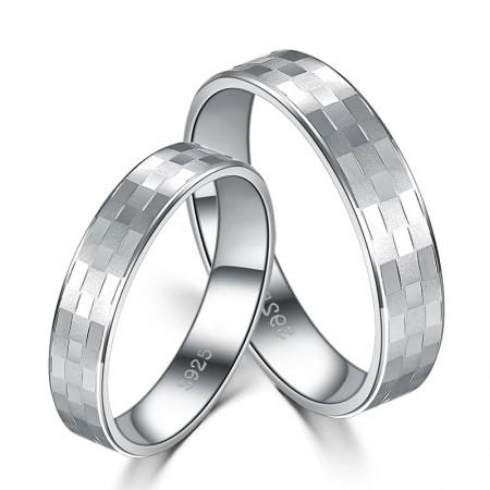 Fashion Square S925 Silver Original Lettering Couple Rings