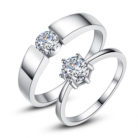 Korean 925 Sterling Silver Classic Six-Claw Simulation Diamond Couple Rings