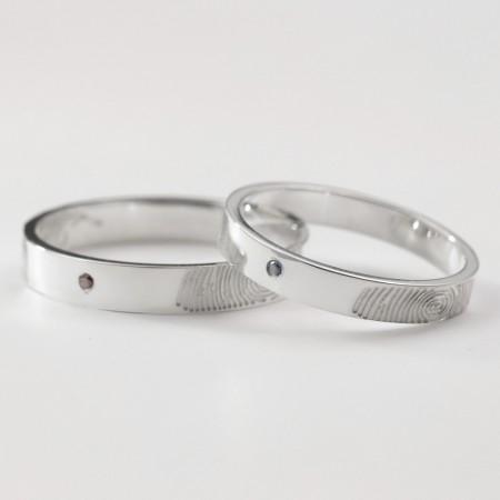 Creative Fingerprint Diamond 925 Sterling Silver Couple Rings