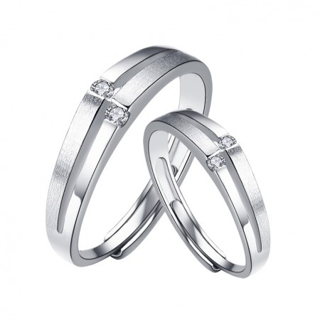 925 Sterling Silver Adjustable Opening Couple Rings
