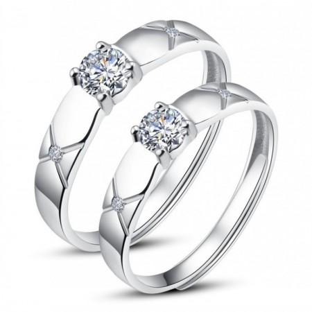 New Arrival Round Cut Diamond 925 Sterling Silver Adjustable Couple Rings