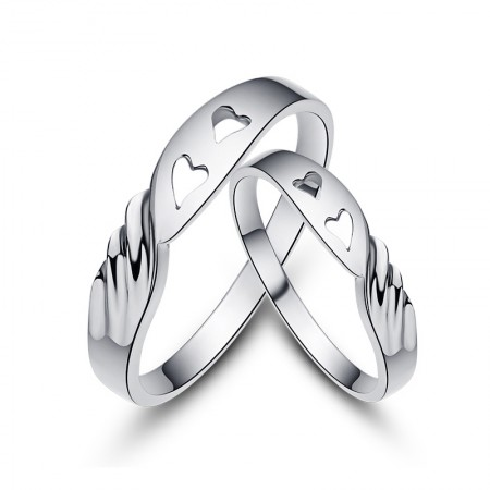 Have Mutual Affinity Creative Lettering 925 Sterling Silver Couple Rings