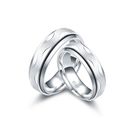 Intermediate Rotatable 925 Sterling Silver Couple Rings
