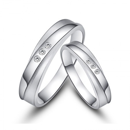 Classic Unique Creative Lettering 925 Sterling Silver Couple Rings