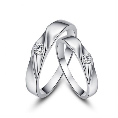 Original Design Diamond Creative Lettering 925 Sterling Silver Couple Rings
