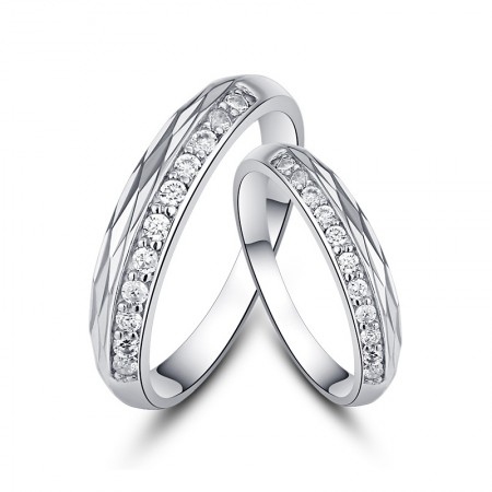 Fingers Mark 925 Silver Creative Lettering Couple Rings