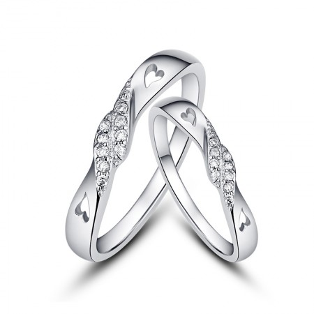 New Mutual Affinity 925 Sterling Silver Creative Lettering Couple Rings