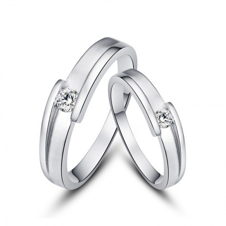 Exquisite Diamond Creative Lettering 925 Sterling Silver Couple Rings