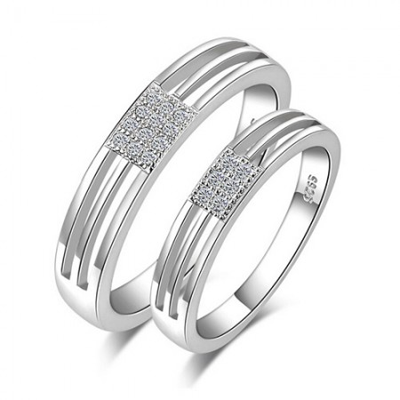 Fashion S925 Sterling Silver Diamond Men And Women The Same Paragraph Couple Rings