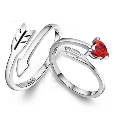 Simplicity Cupid'S Arrow S925 Silver Opening Couple Rings