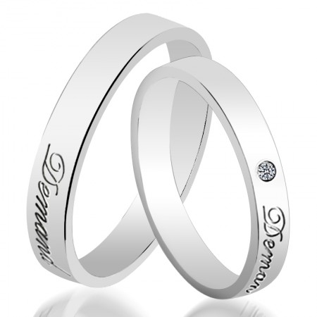 Personalized Fashion 925 Sterling Silver Engraving Couple Rings