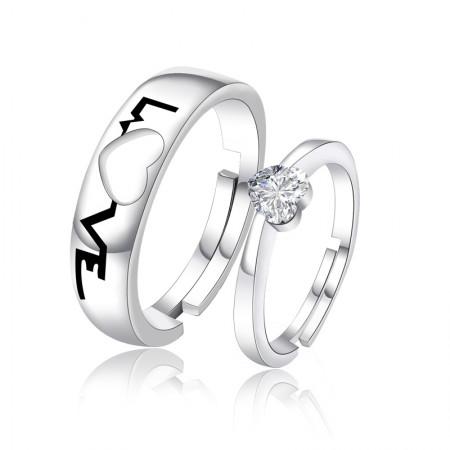 "Creative ""Love"" 925 Silver Couple Rings"