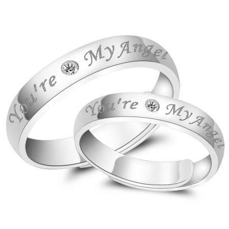"""You Are My Angel"" 925 Silver Couple Rings"