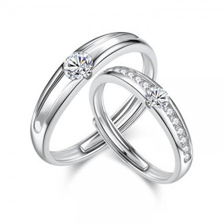 Luxury Simulation Diamond 925 Silver Couple Rings