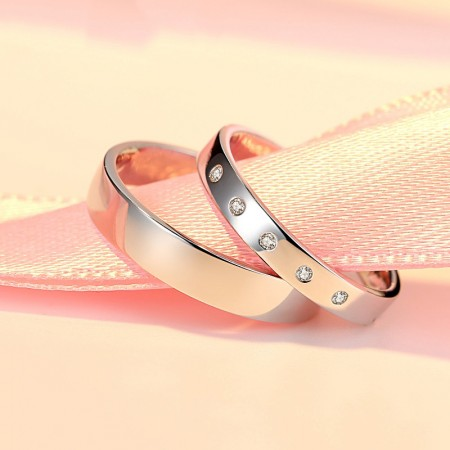 New Smooth S925 Silver Couple Rings