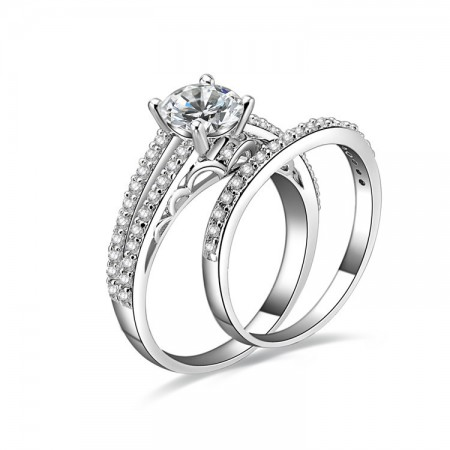 Europe Style 925 Sterling Silver Emulation Diamond Engagement Ring