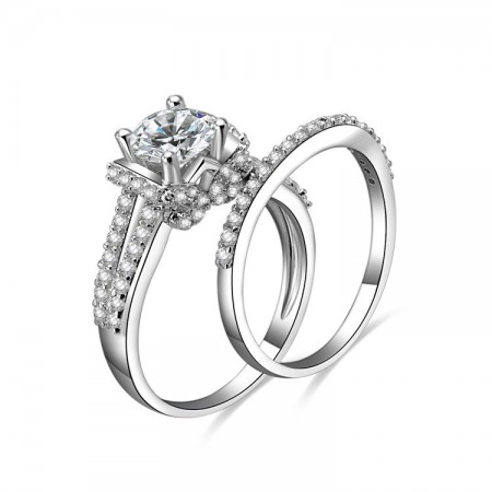Premier Gorgeous Sterling Silver Inlaid Cz Engagement Ring Set