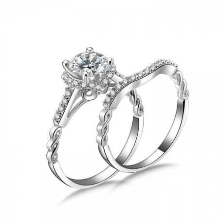 New S925 Sterling Silver Inlay Sparkling Cz Engagement Ring