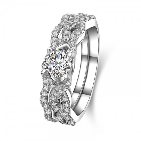 Classic Weave Style Sterling Silver Engagement Ring