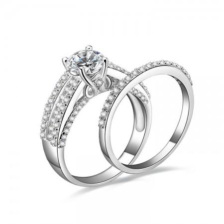 Fashion Retro Design 925 Sterling Silver Engagement Ring Set