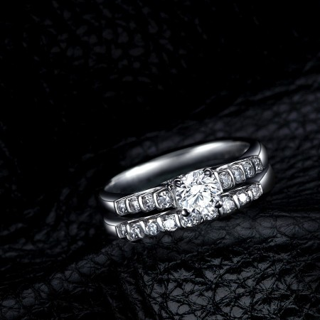 Creative Design 925 Sterling Silver Engagement Ring Set