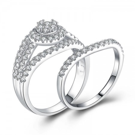 Wide Luxury Simulation Diamond 925 Silver Engagement Ring