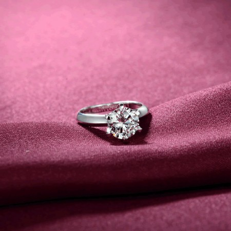 Classic Six Claw Inlay 1Ct Cubic Zirconia 925 Silver Engagement Ring