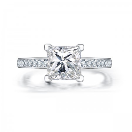 Princess Square Cut Exquisite 925 Sterling Silver Inlay Cubic Zirconia Engagement Ring